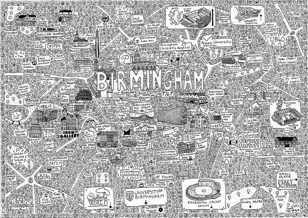 Birmingham Doodle Map