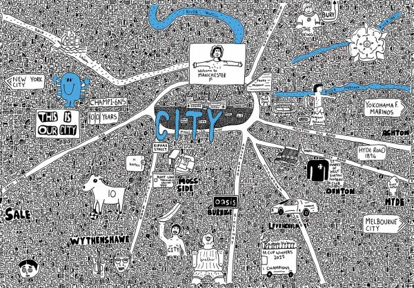 Manchester City Doodle Map