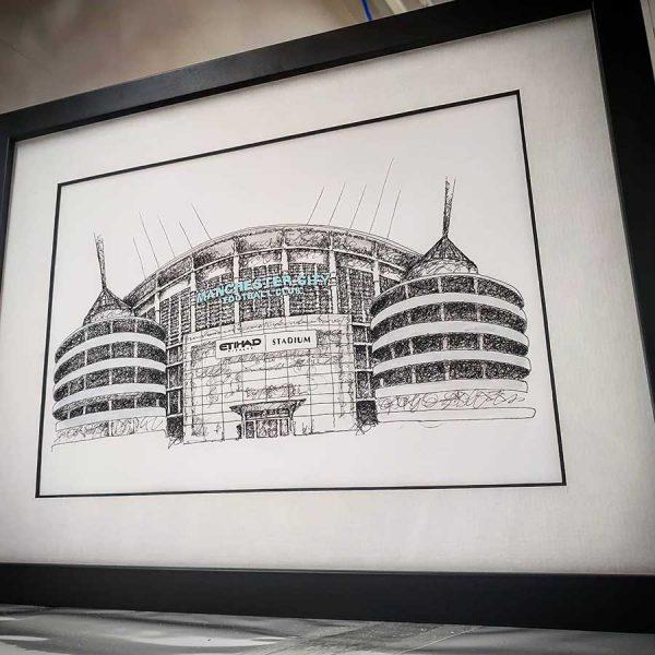 Etihad Mat Pickles Sketch framed