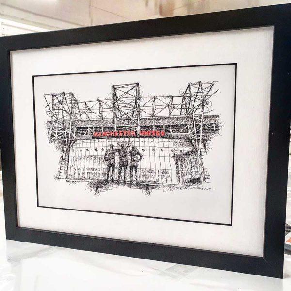 Old Trafford Mat Pickles Sketch Framed