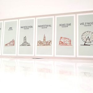 Manchester landmarks illustrations