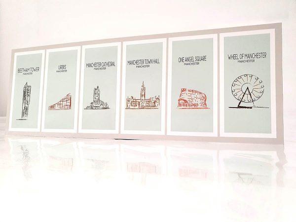 Manchester landmarks illustrations