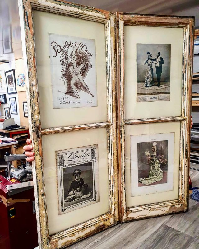 Cool Art  A customer found these French windows in a skip recently. She asked if we could place four old French magazines central in each window. With a little museum mount and conservation we came up with this.  It's now off to a cottage in Dunham Massey  #lovetoframemcr #dunhammassey